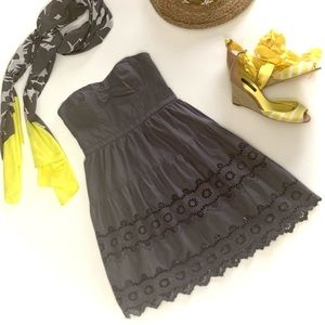 American Eagle Outfitters Gray Eyelet Dress
